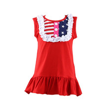 2016 new arrival patriotic boutique ruffle cotton latest dress designs fashion dresses for 2-8 years girl