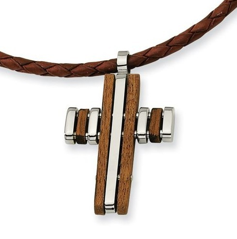 crucifix pendant Stainless steel jewelry wire cut cross big pendant with wood promotional gifts SCP201