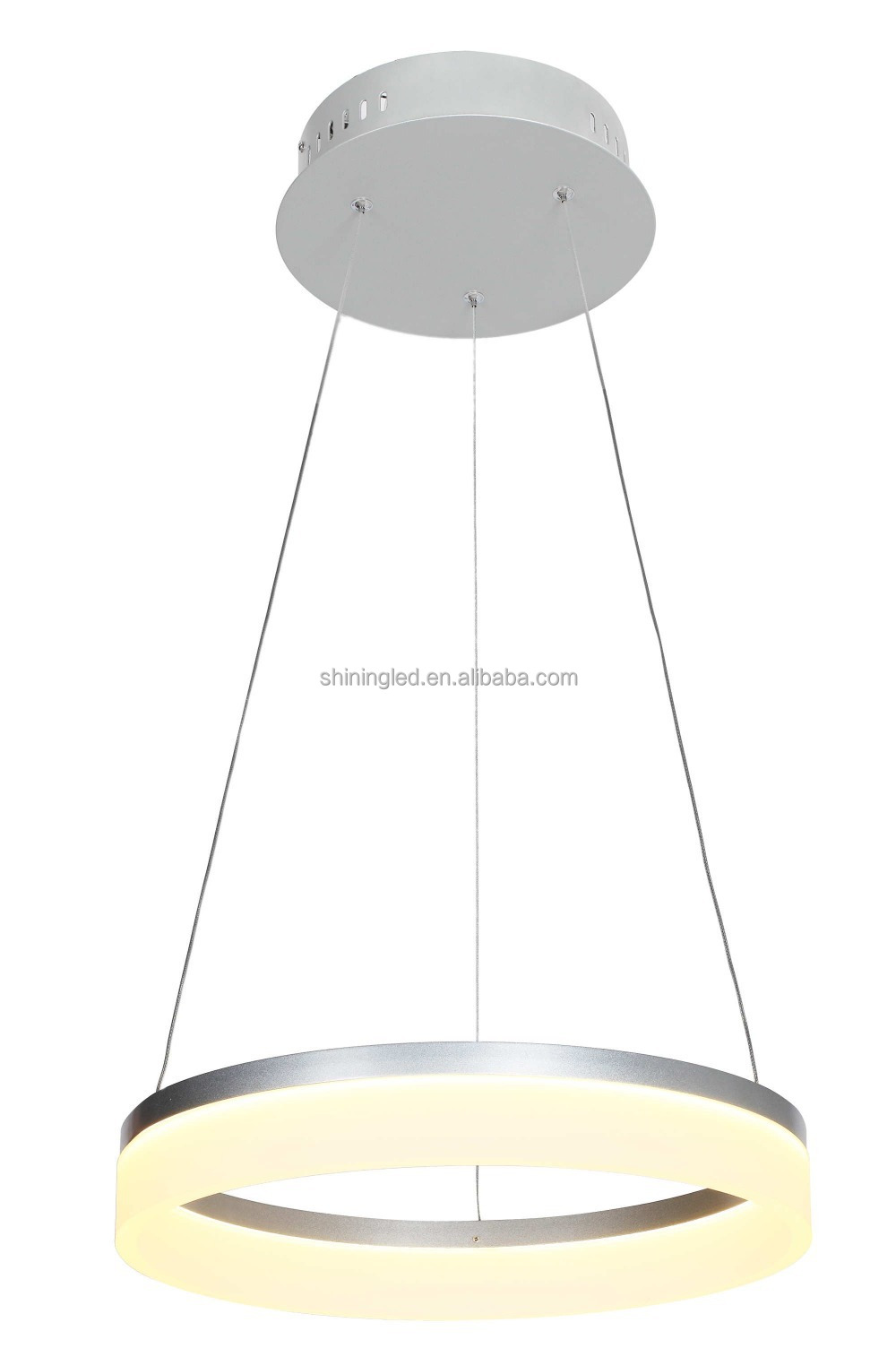 Modern lamp led white one ring shaped acrylic and Aluminum pendant light adjustable hanging chandelier lighting fixture