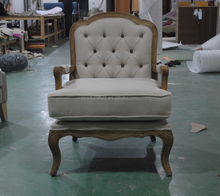 French Retro Style Furniture Button Tufted Back Solid Wood Arm Chair