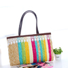recycled summer colored stripy straw bag women straw handbags