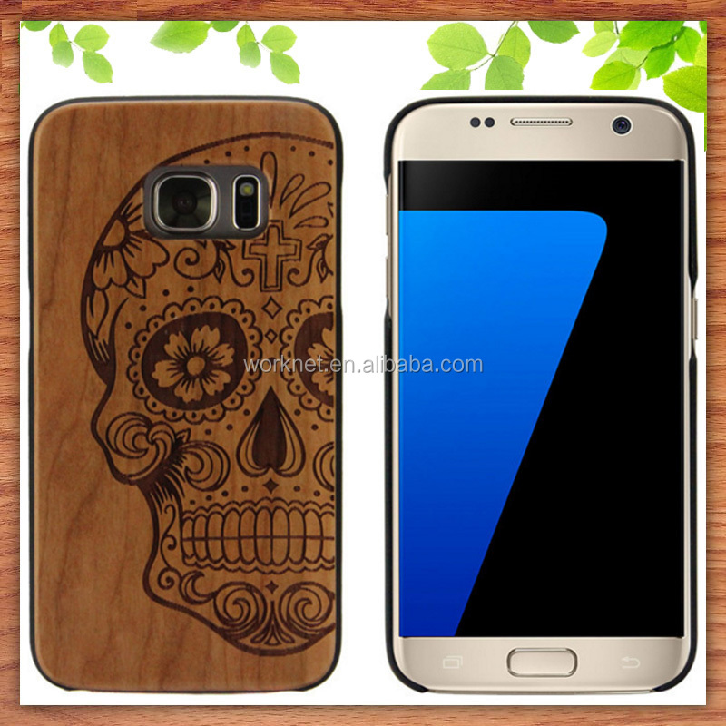 Shenzhen factory custom design laser engrave logo PC wood cell phone case for Samsung Galaxy S7 Edge
