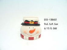Snowman shaped ceramic napkin holder for Christmas
