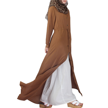 Fashionable High quality Button down muslim dubai abaya open for women with belt in spring, islamic women abaya dress in china