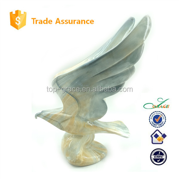 Fengshui business gifts decal marble pattern resin eagle sculpture