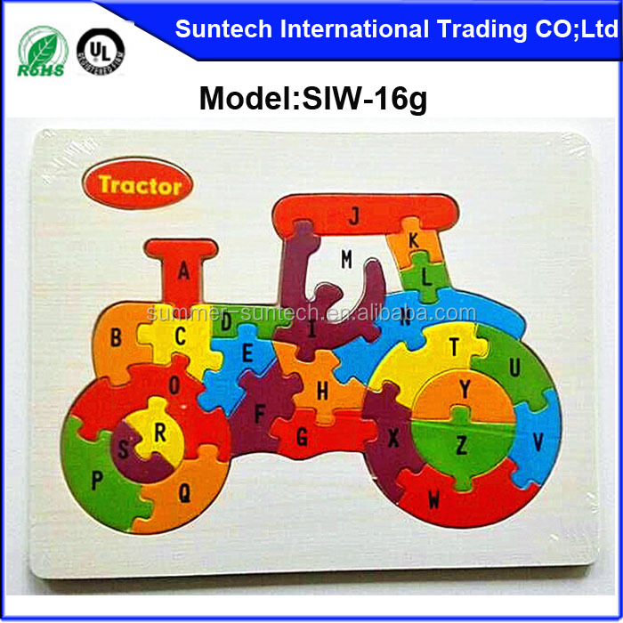 Custom Jigsaw Puzzle for Learning , OEM Wooden Jigsaw Puzzle Toys for Kids wooden puzzle tractor