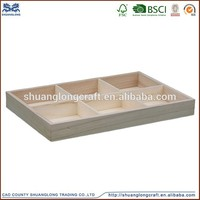 China factory supplier FSC& CARB certificate handmade wooden cutlery tray