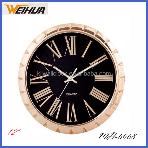 12 inch plastic luxury wall clock roman numbers