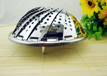 Folding retractable stainless steel steamer majic disk steaming tray fruit plate