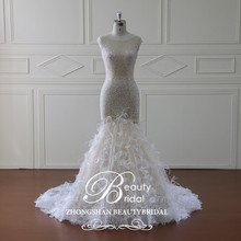 Hot sale newest design luxury mermaid wedding dresses with beading