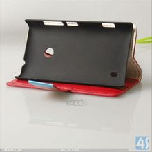 2014 Wholesale Wallet Leather Cover Case for Nokia Lumia 520 Stand Case P-NKLUMIA520CASE002