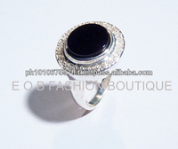 GWR 26 Sterling Silver 925 Round Onyx & Gemstone Ring