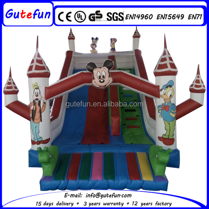 Factory price inflatable mickey mouse bounce castle with slide