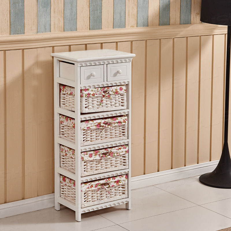4 Baskets Shabby Wicker Storage Unit White Cabinet Furniture Chest of Drawers