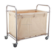 Round Stainless Steel Heavy Duty Easy-assemble hospital linen trolley