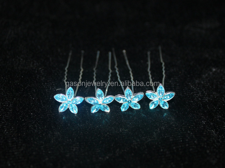 Simple leaf triangle shape hair fork jewelry nice silver metal hair pins