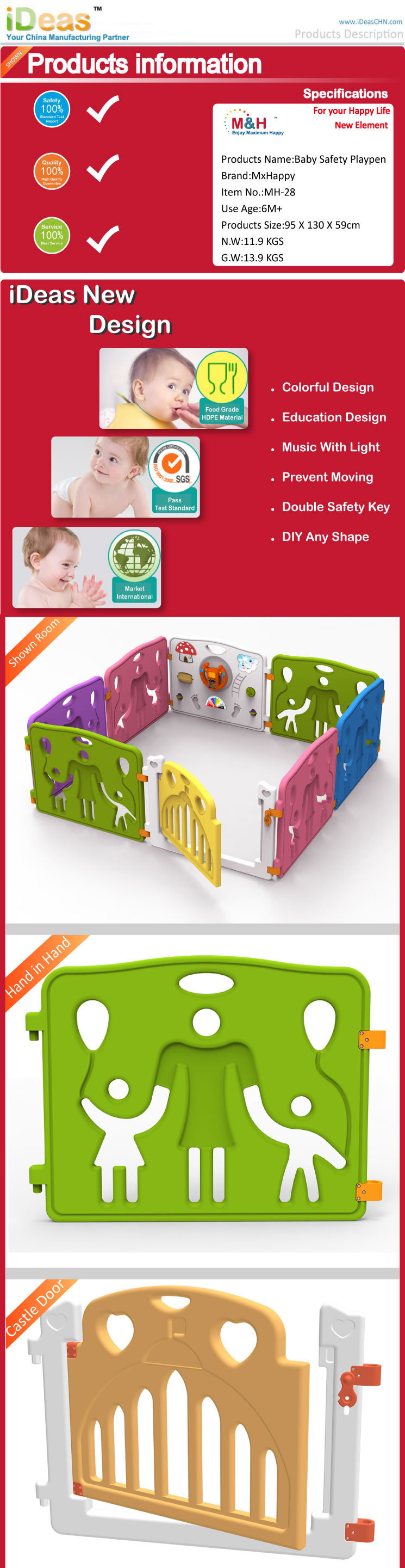 MH21-6+2  Baby Playpen Baby Safety Playpen Play Yard Fence  Kids 8 Panel Activity Safety Play Center Yard Home Indoor