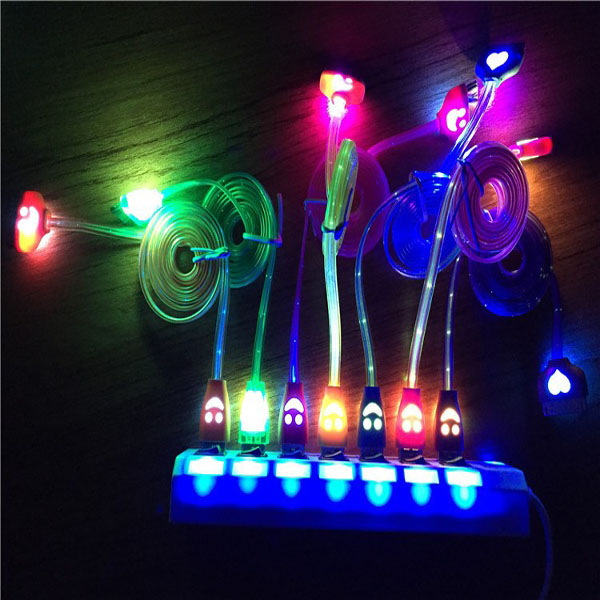 2016 New item good quality colorful led light usb charger data cable hot sale Smile Micro usb cable