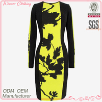 Fashion clothing factories in China ladies' cloe-fitting trench printed african fashion designs dress with long sleeves