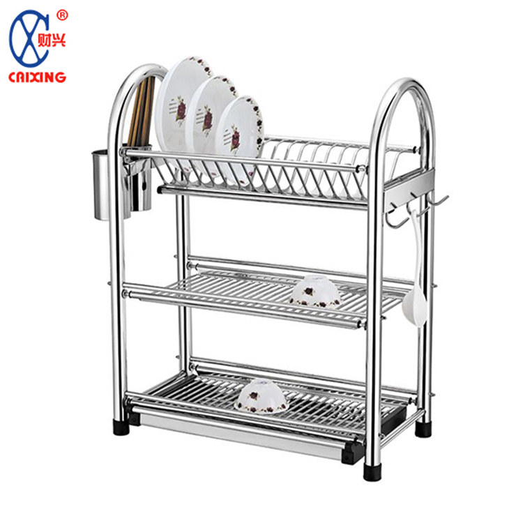 Large capacity kitchen plate storage holder stainless steel 3 tier dish rack