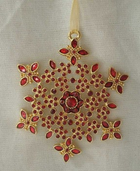 gold plated alloy Christmas snowflake hanging ornament(P120140d)