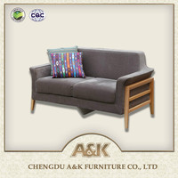 The latest design economic solid wood frame sofa for living room furniture with 2 seat wooden Sofa