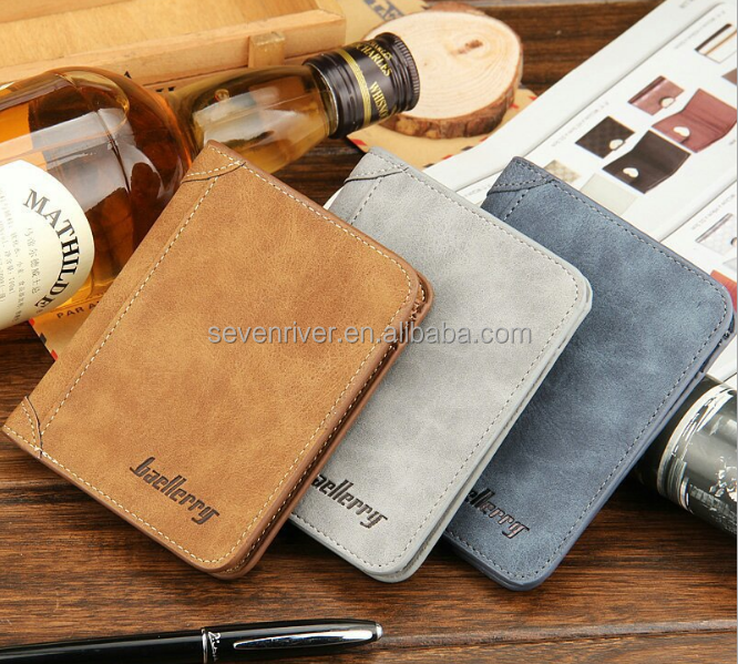 Wholesale Cheap Multipurpose Vintage PU Leather Wallet Men