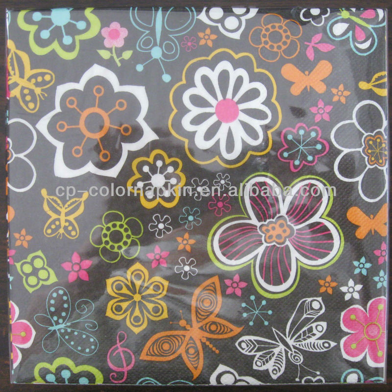 printed flower tissue paper /manufacturer in China/5 star hotel napkins