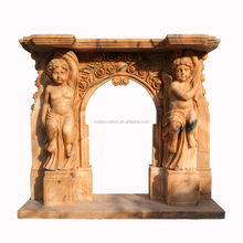 Arched Opening Rosetta Cherub Marble Fireplace Mantel MAF1835