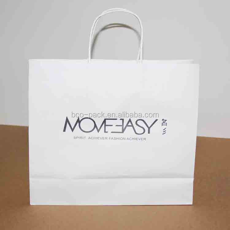 offset printing white kraft paper bags with handles