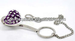 Wholesale Silver Tone Rhinestone Black Heart Key Finder & Chain W/ Hook Clip