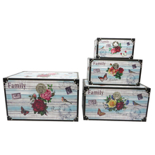 House containers canvas wooden storage trunk box