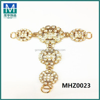 Factory price T shape crystal rhinestone shoe chains gold metal buckle MHZ0023