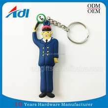 High quality custom rubber oem pvc reflective 2D keyring keychains