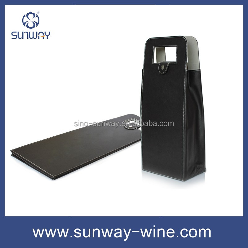 Innovation 2017 new ideas promotional popular leather wine bag carrier from manufacturer