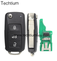 new flip remote key 5ko837202ad 3 BUTTON blank remote key fob 433mhz ID48 for vw VOLKSWAGEN GOLF CADDY JETTA POLO