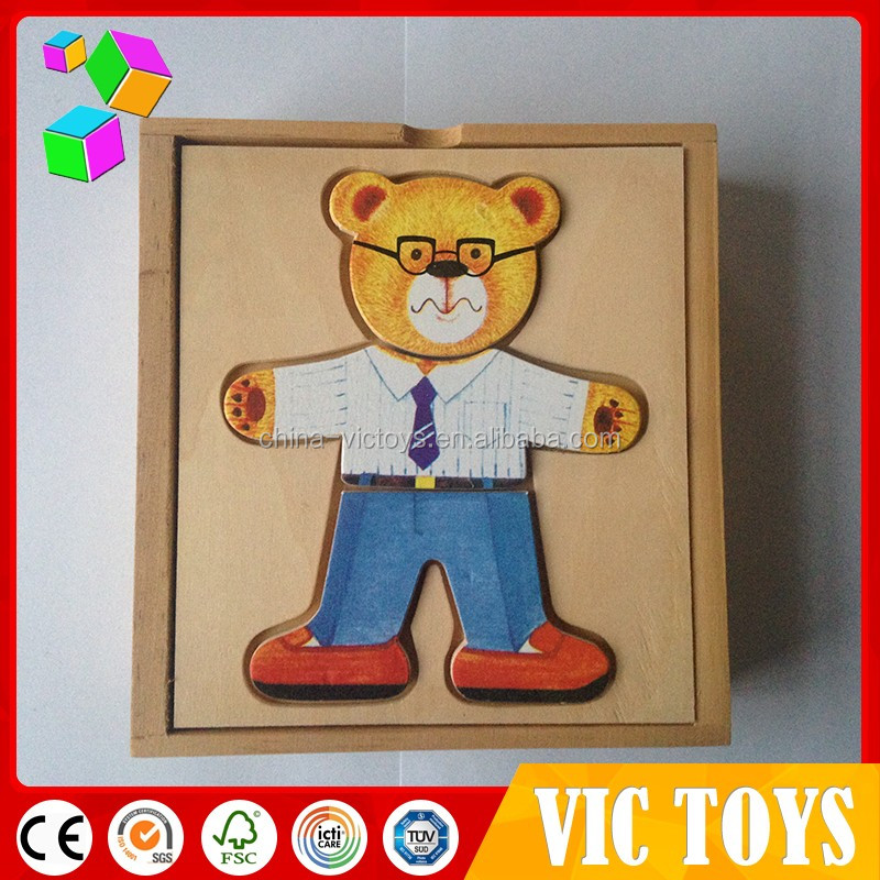 kids wooden puzzle box/ wood bear family puzzle