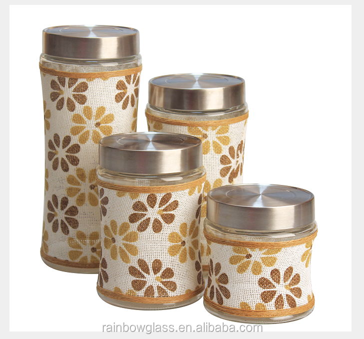 The most popular waist glass storage jar with yellow flower metal lid wholesales 4 pieces