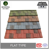 Hotsale flat colorful stone coated metal roof tile, steel roof tile
