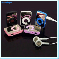 Mirror Screen C Button Mini MP3 Player Clip MP3 Player sport music mp3 With Micro TF Card Slot With Headset Safe Delivery