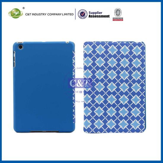 C&T Square grain good appearance pu leather standing case for ipad mini