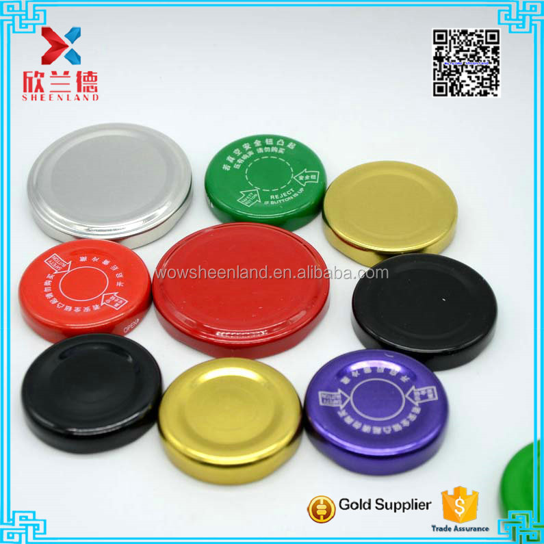 different kind and color screw tin cover cap metal twist off top lid