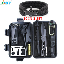10 in 1 Outdoor safety Gear Survival Kit ,Multi-Purpose adventure Survival tool Set , personal outdoor SOS Emergency Supplies