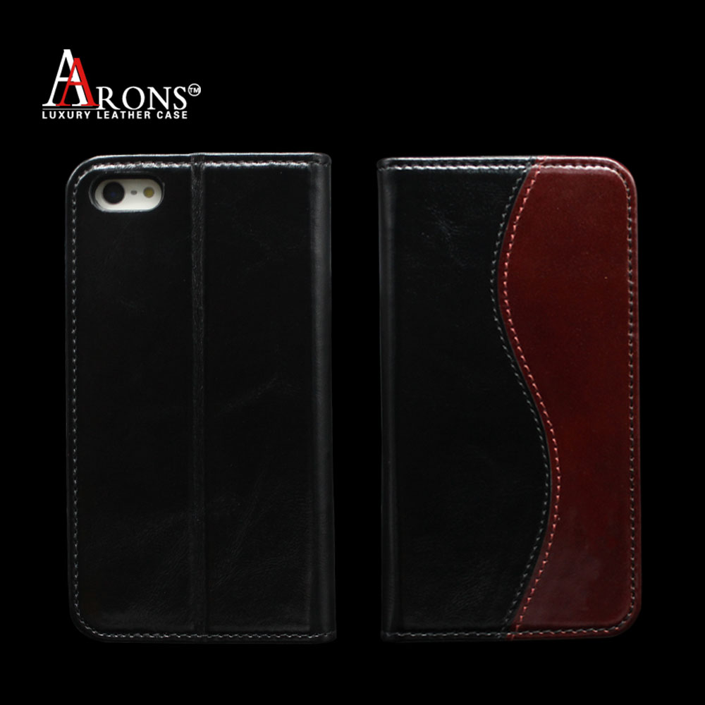 Aaron 2016 special design genuine cowhide splicing leather wallet cell phone case for iphone 5s/SE