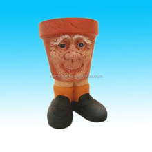 3D face terracotta planter pot garden flower decorative pot