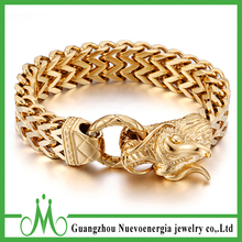 Gold Color Cuban Stainless Steel Dragon Bracelet Men Jewelry