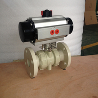 2 way PVC PPH flange connection pneumatic actuated ball valve