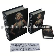 Home Deco Foldable Wooden Book Box Marilyn Monroe Designed Storage Box