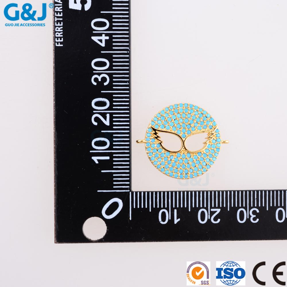 Guojie brand wholesale well-designed micro pave CZ round wings of an angel jewelry charm pendant for DIY jewelry pendant