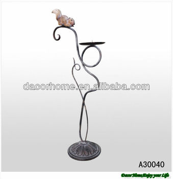 Decorative Squirrel Antique Metal Votive Candle Holder